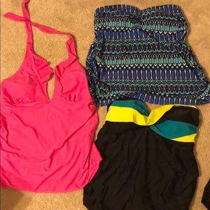 Lot of THREE maternity swim tops. Size L